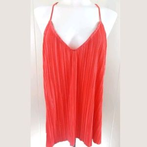 Topshop Coral Pleated V-Neck Tank